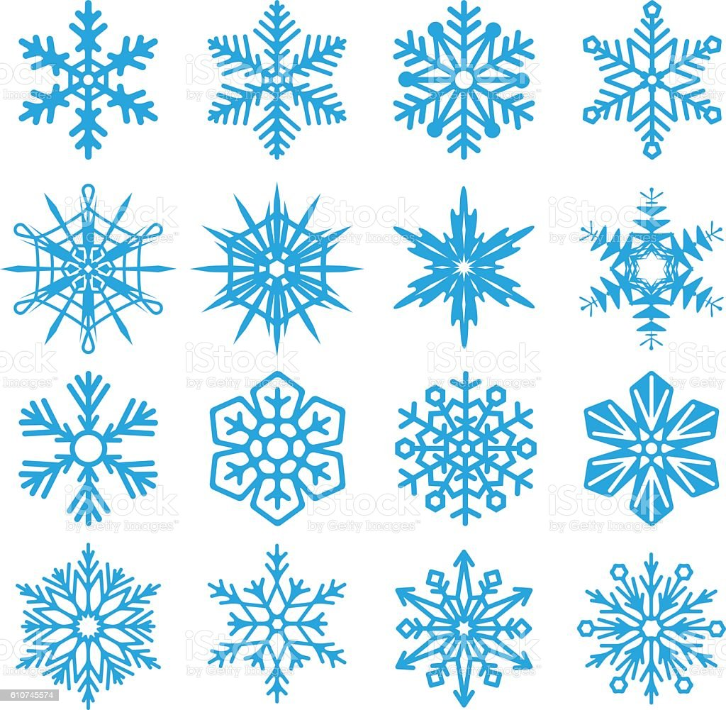Snowflakes set icon collection on white background. Vector illustration. vector art illustration