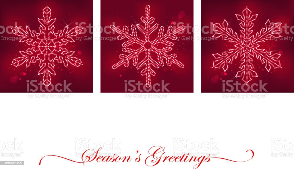 Snowflakes Set in Red royalty-free stock vector art