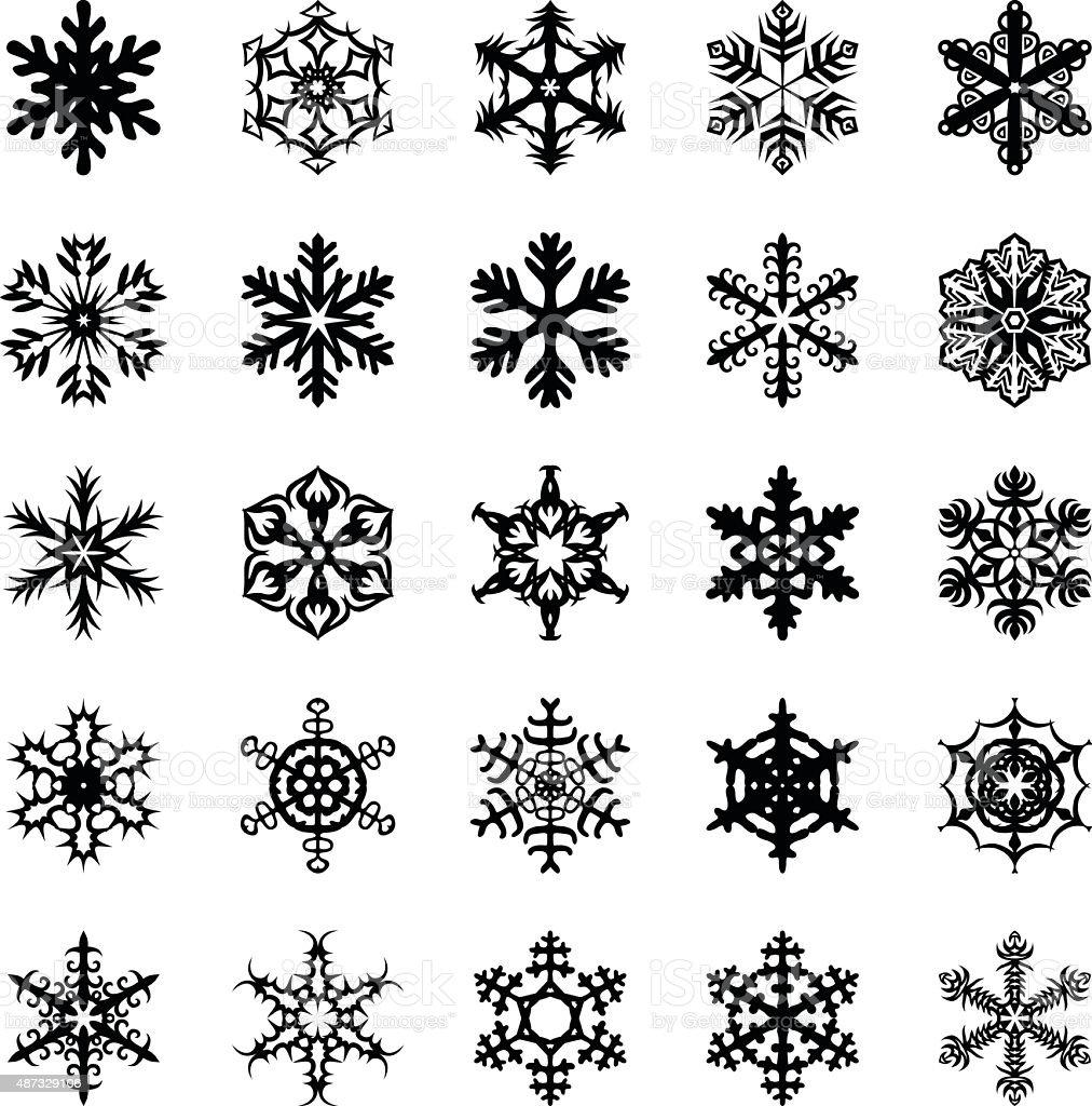 Snowflakes set vector art illustration