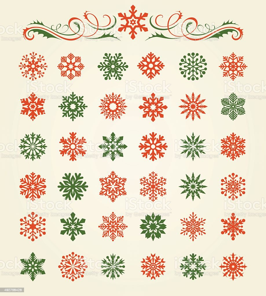 Snowflakes Set vector art illustration