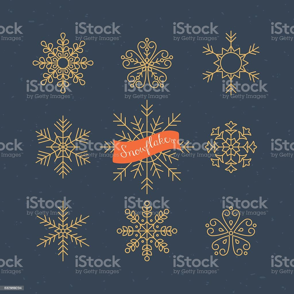 Snowflakes thin line icons design. Christmas vector illustration vector art illustration