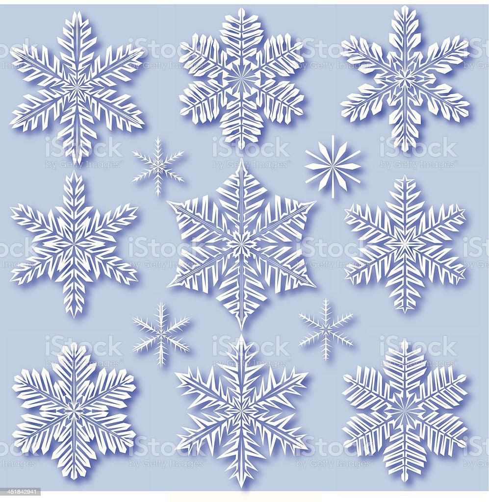 Snowflakes with drop shadow royalty-free stock vector art
