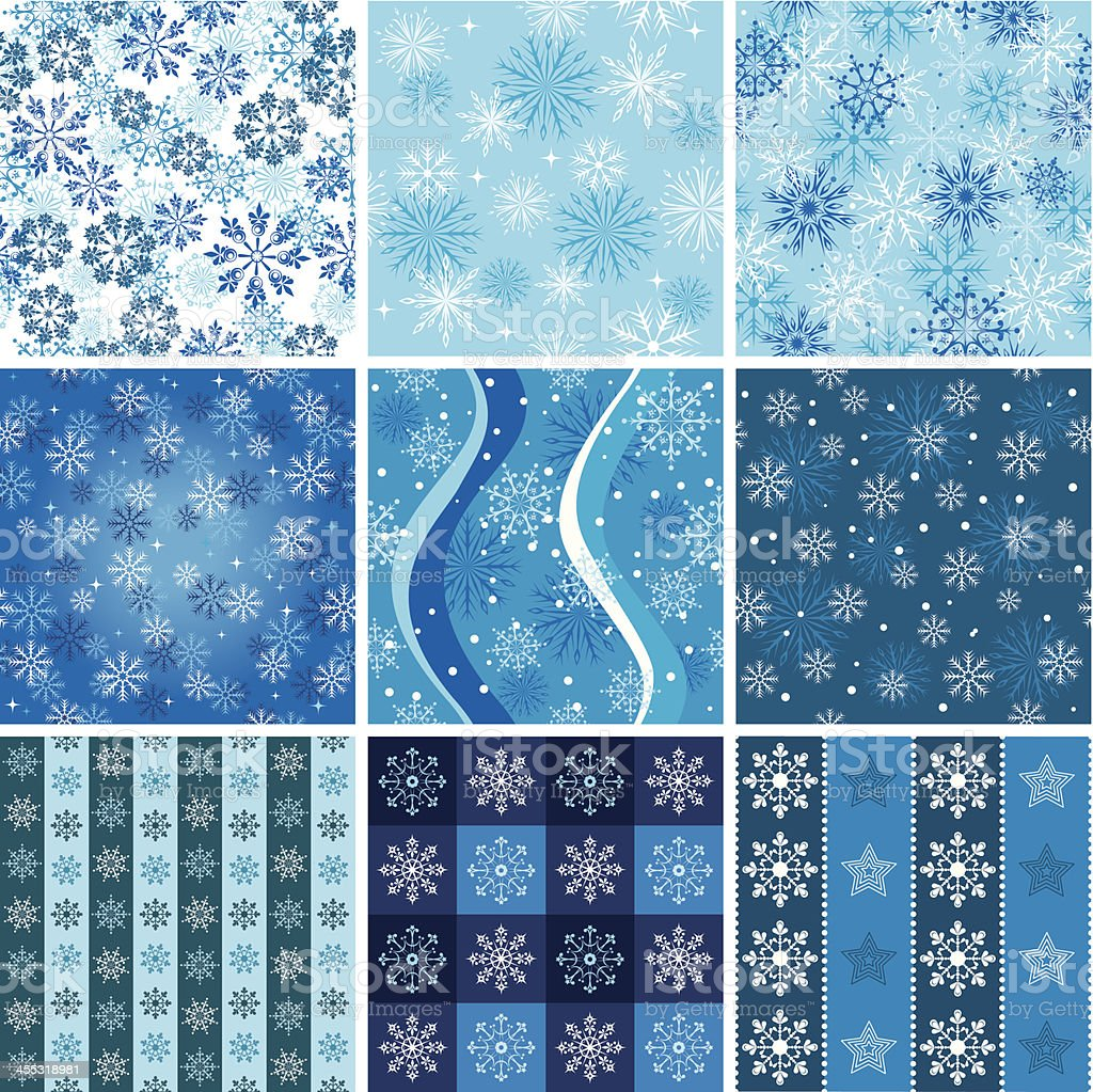 Snowflakes wrapping paper set two royalty-free stock vector art