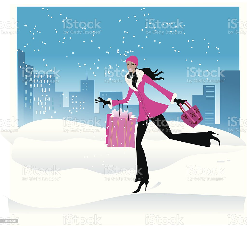 Snowing in the city shopper girl royalty-free stock vector art