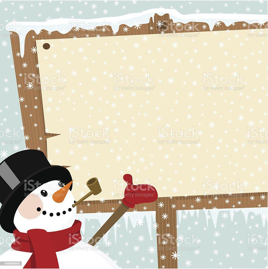 Snowman and Billboard royalty-free stock vector art