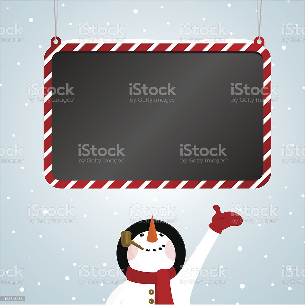 Snowman and blackboard royalty-free stock vector art