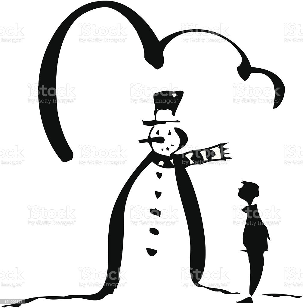 Snowman and Boy royalty-free stock vector art