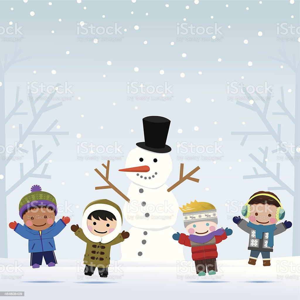 Snowman and Boys royalty-free stock vector art