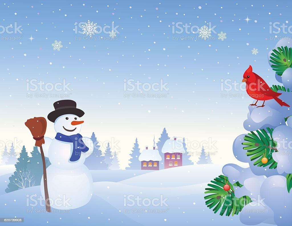 Snowman and cardinal background vector art illustration