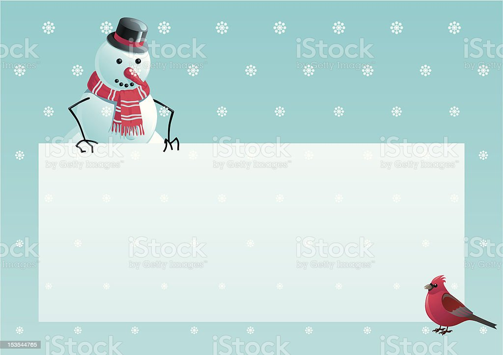 snowman and cardinal bird with christmas letter royalty-free stock vector art