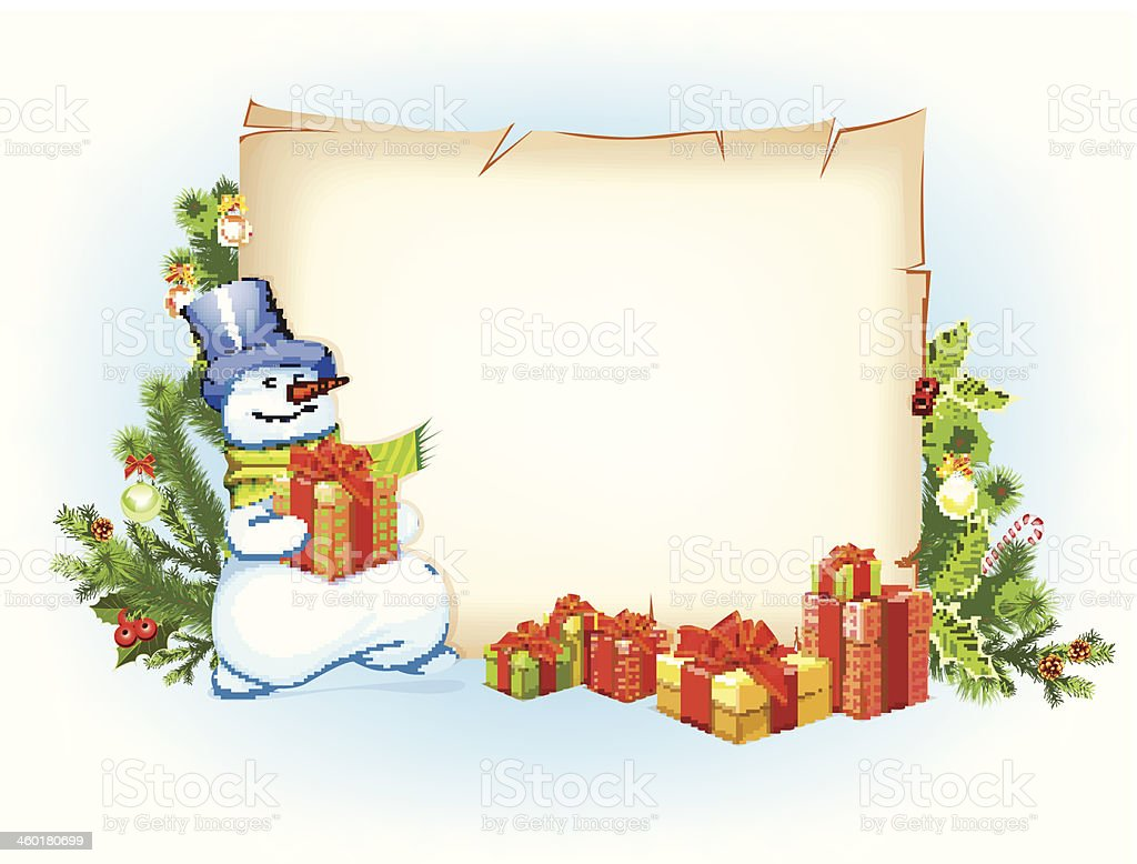 Snowman and empty blank on horizontal background with christmas fir vector art illustration