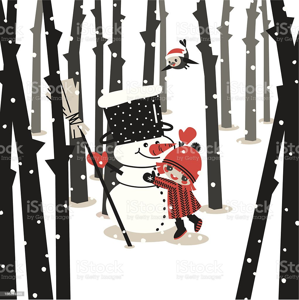 Snowman and girl. royalty-free stock vector art