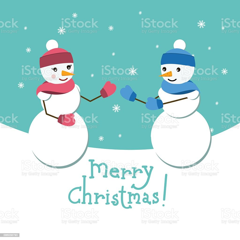 Snowman and his girlfriend vector card. with Metty Christmas lettering vector art illustration