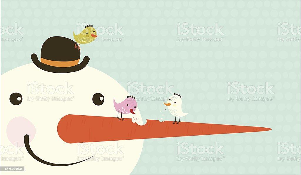 Snowman and little birds royalty-free stock vector art
