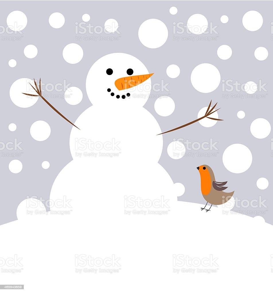 Snowman and robin bird vector art illustration