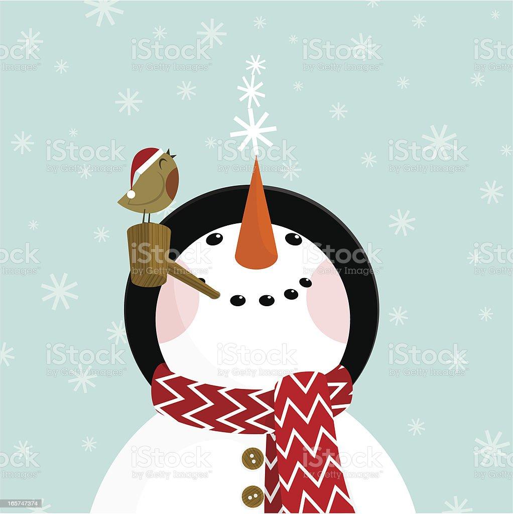 Snowman and robin vector art illustration