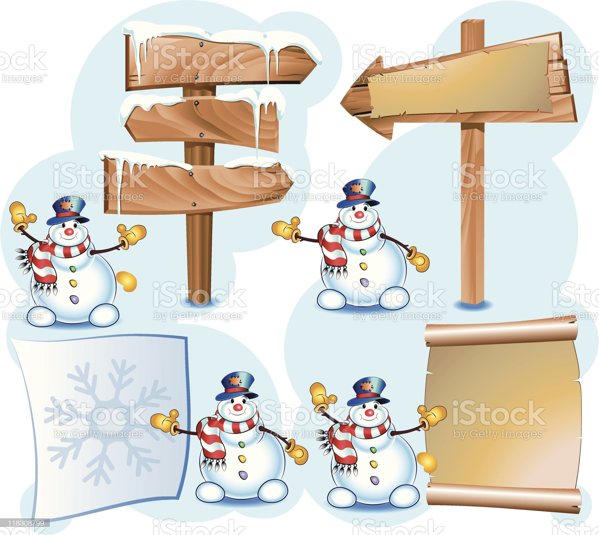 snowman and signpost royalty-free stock vector art