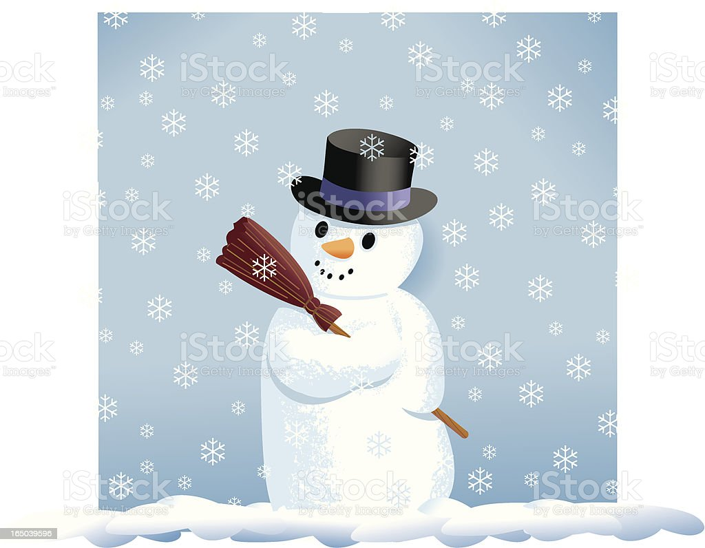 Snowman and Snowflakes vector art illustration