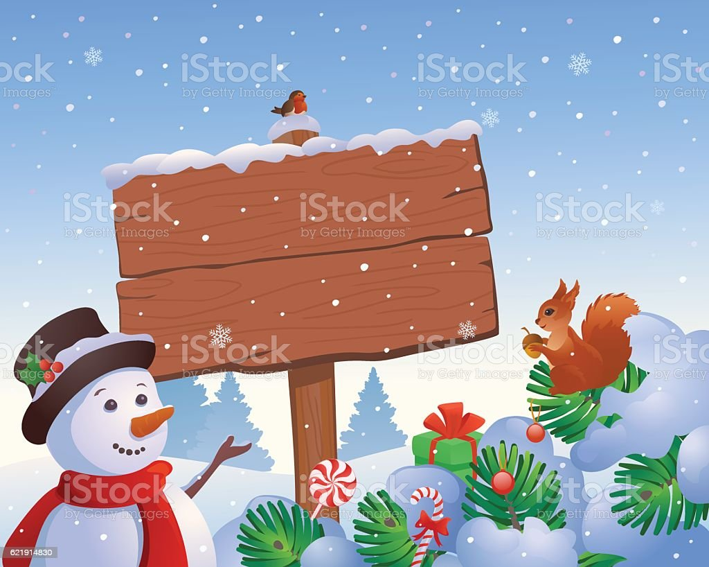 Snowman and squirrel signboard vector art illustration