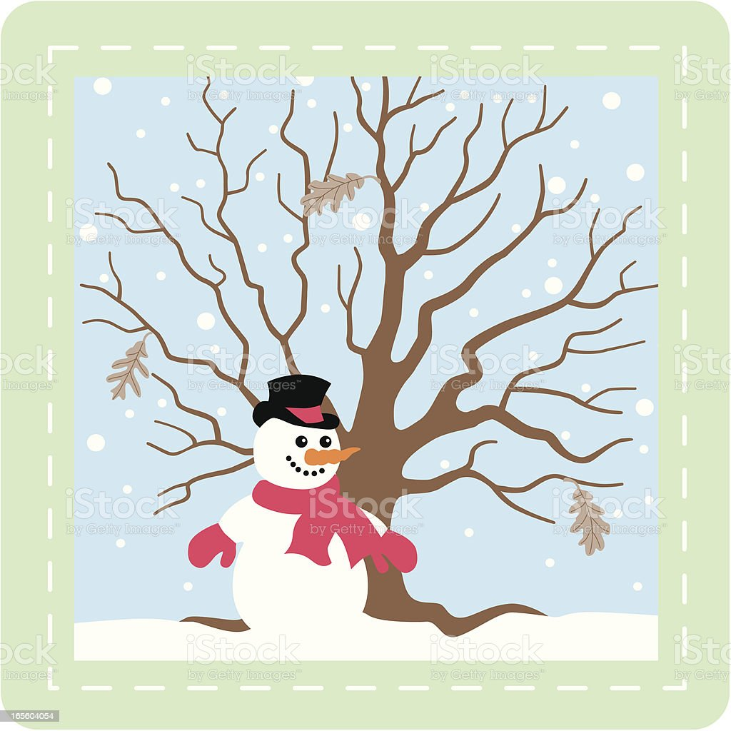 snowman and winter tree royalty-free stock vector art