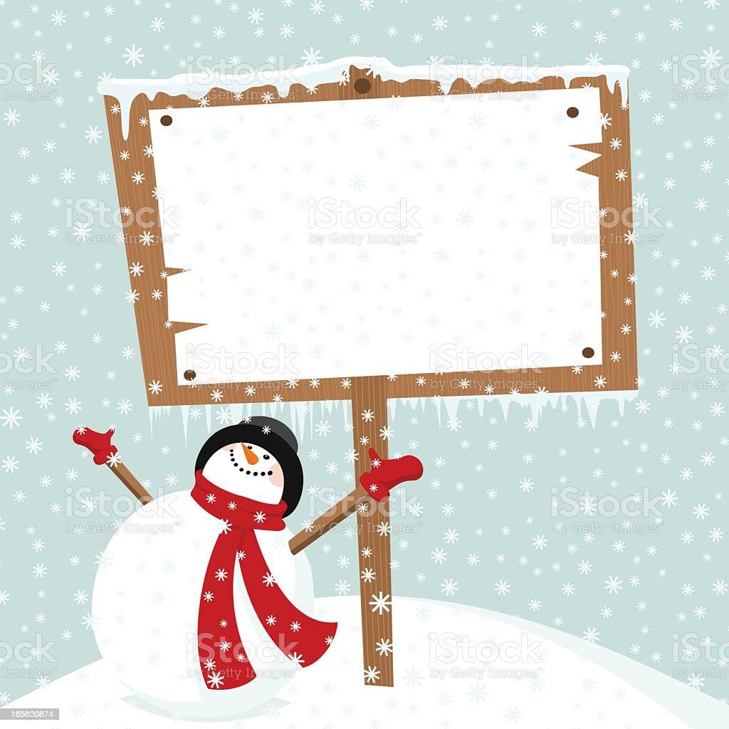 Snowman & billboard. Let it snow in Christmas time vector art illustration