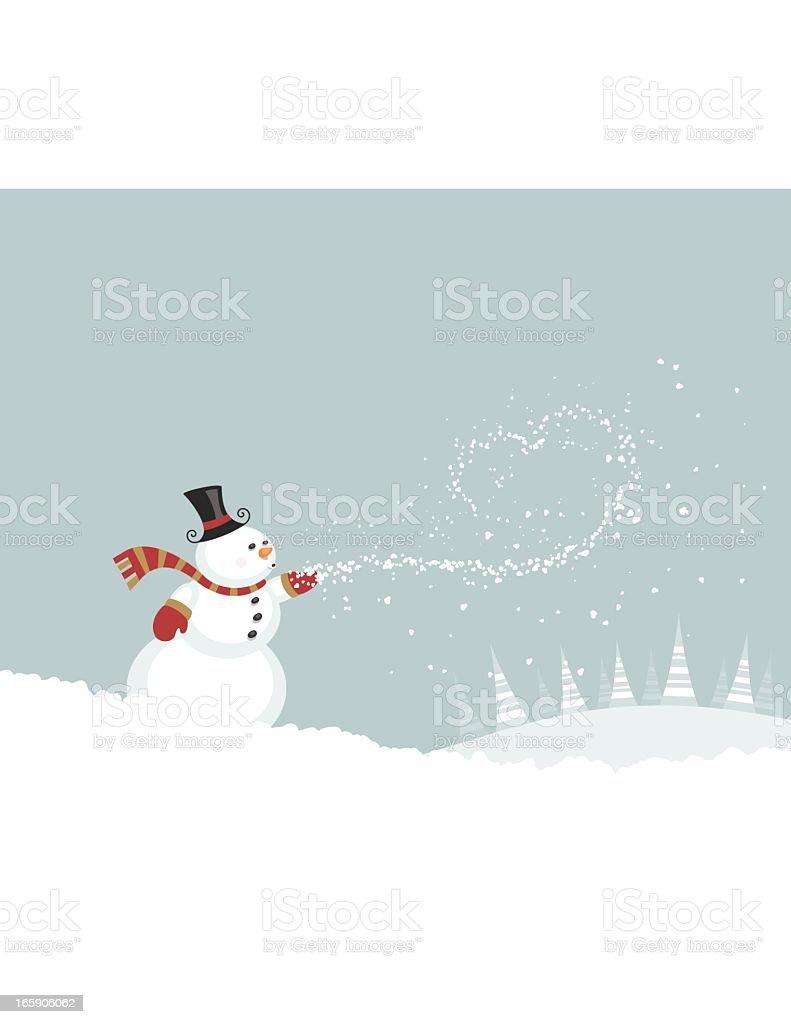 Snowman Blowing Snow vector art illustration