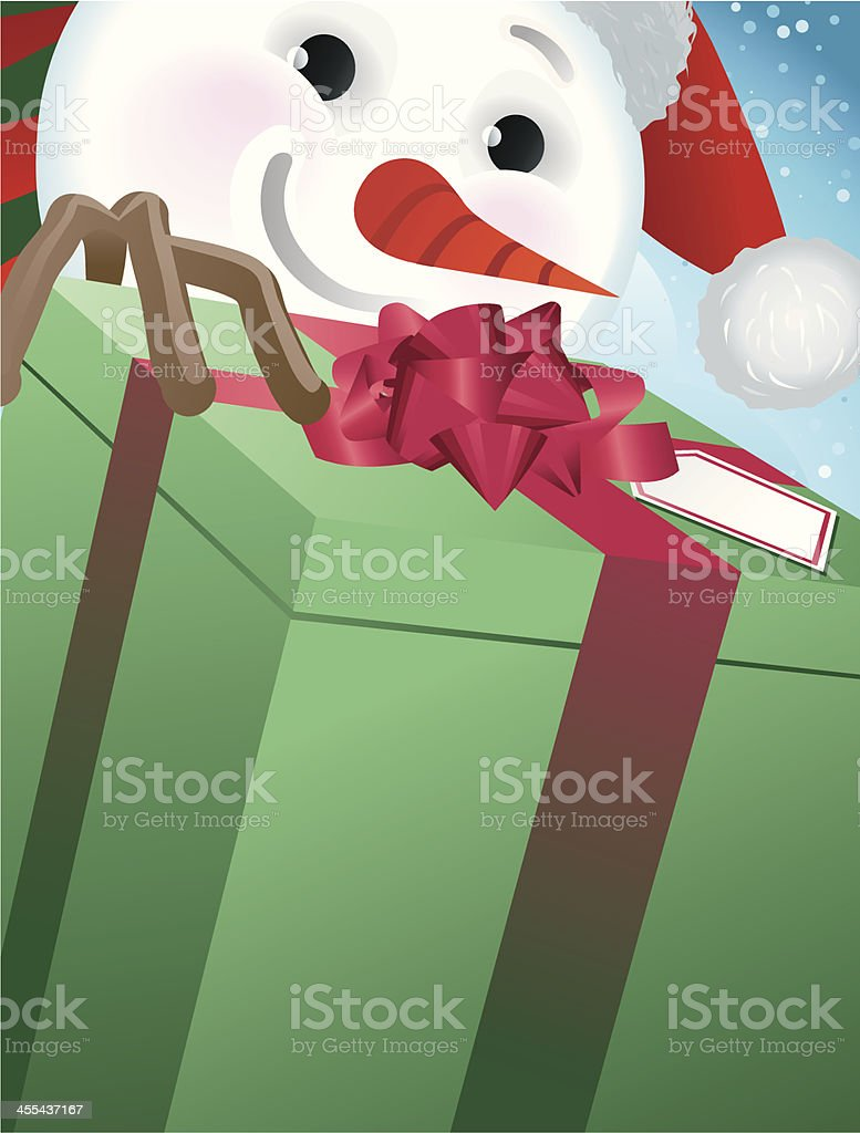 Snowman Carrying a Gift Close Crop royalty-free stock vector art