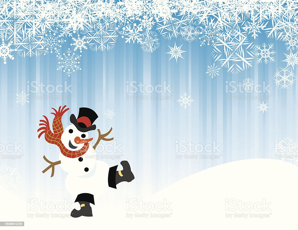Snowman Dancing in the Winter Snow Background royalty-free stock vector art