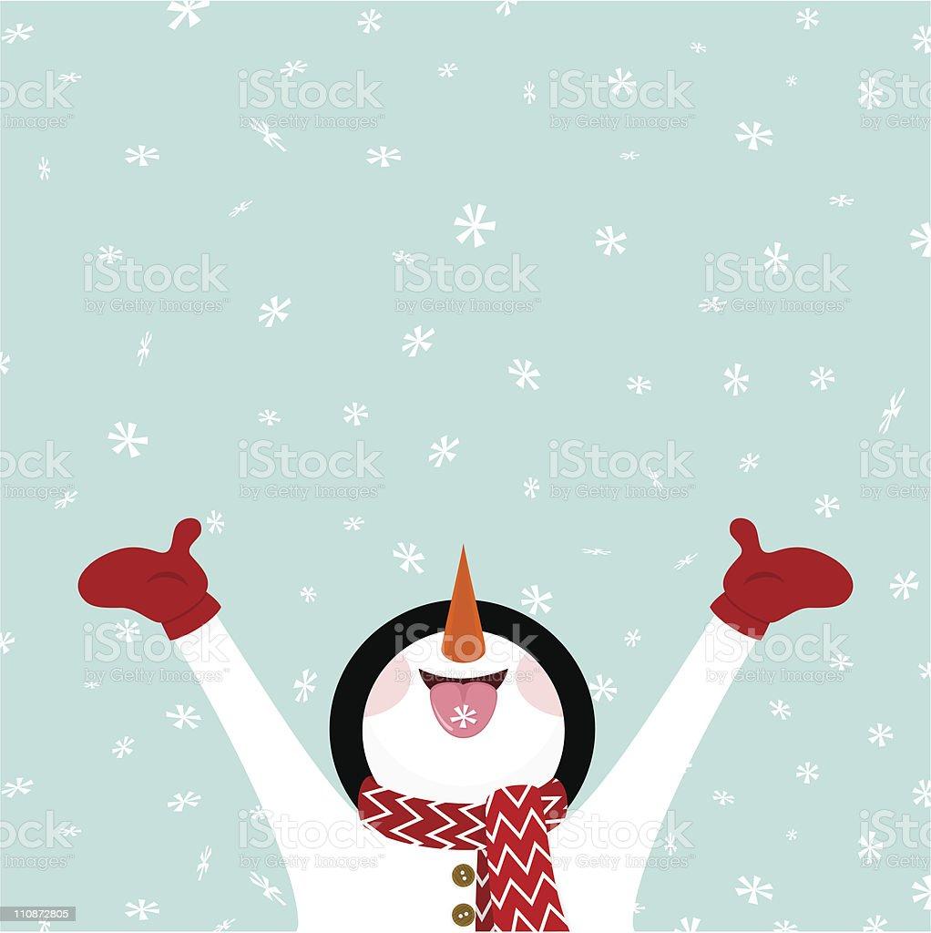 Snowman eating snowflakes / Let it snow illustration vector vector art illustration
