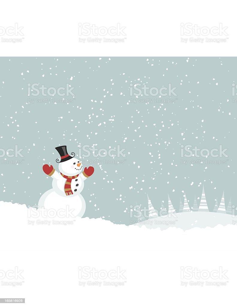 Snowman Enjoying Snow royalty-free stock vector art