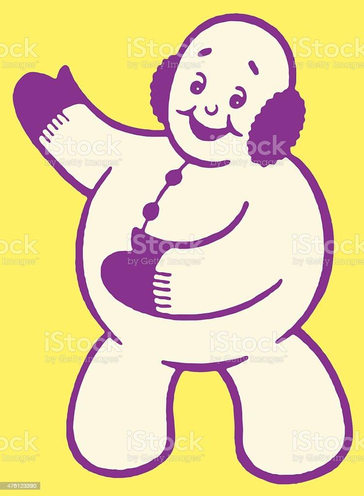 Snowman Gesturing vector art illustration