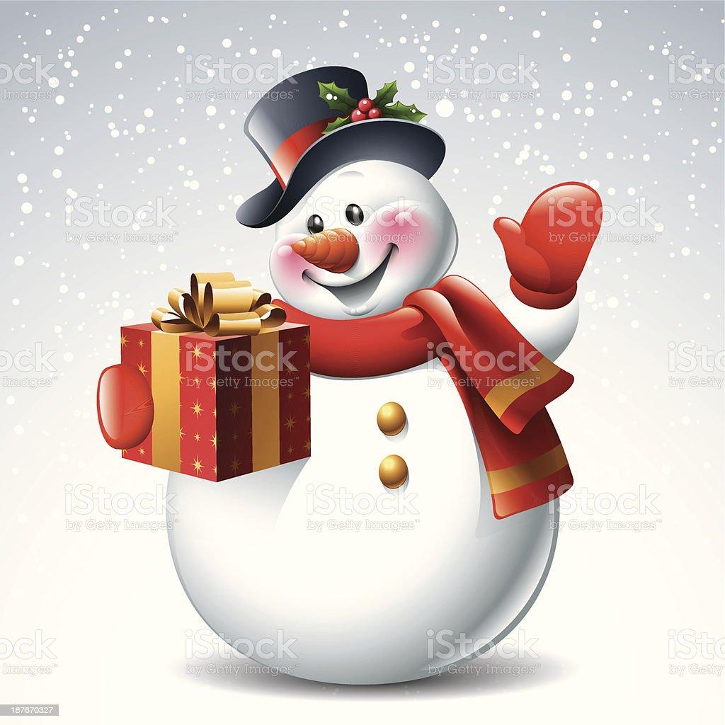Snowman - Gift vector art illustration