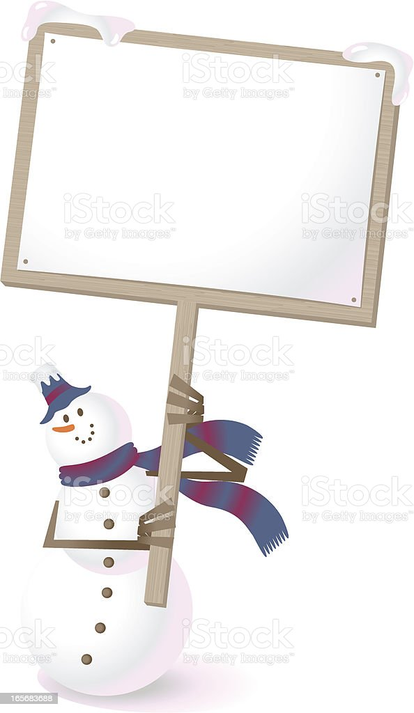 Snowman holding a blank sign and showing something vector art illustration