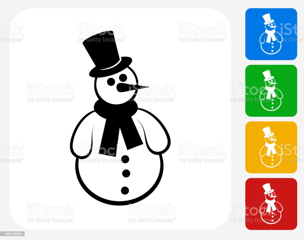 Snowman Icon Flat Graphic Design vector art illustration