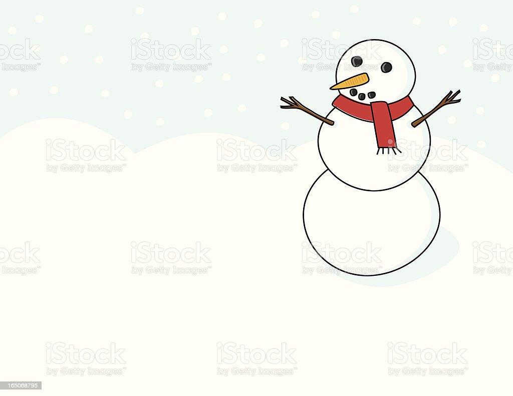 Snowman in a Snowstorm vector art illustration