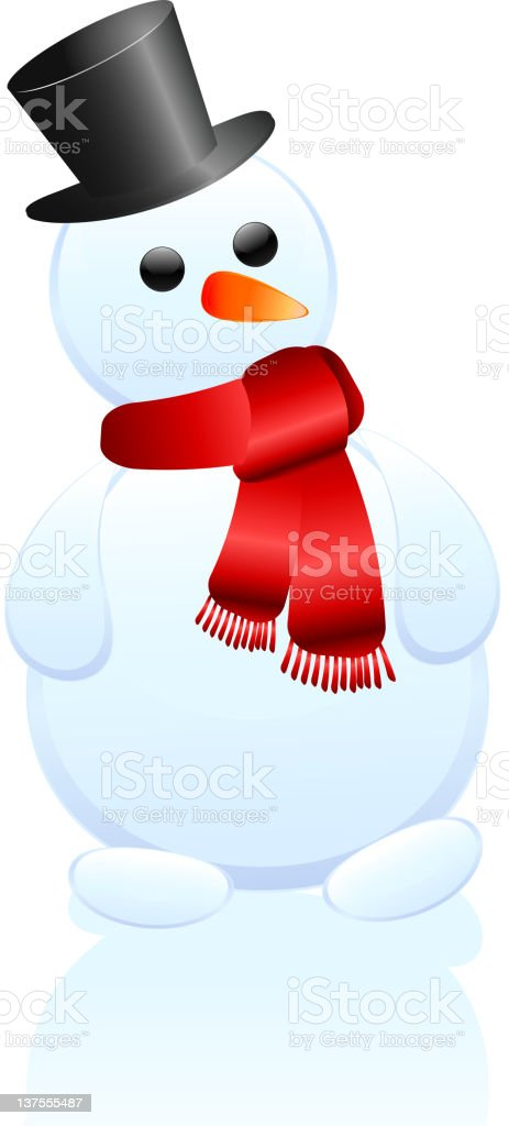 Snowman in gentleman's hat and a scarf royalty-free stock vector art