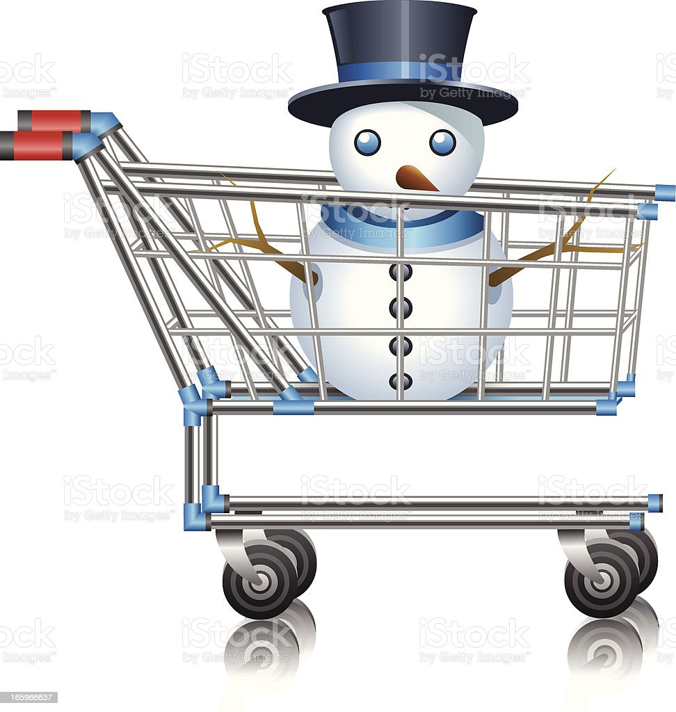 Snowman in Shopping Cart royalty-free stock vector art