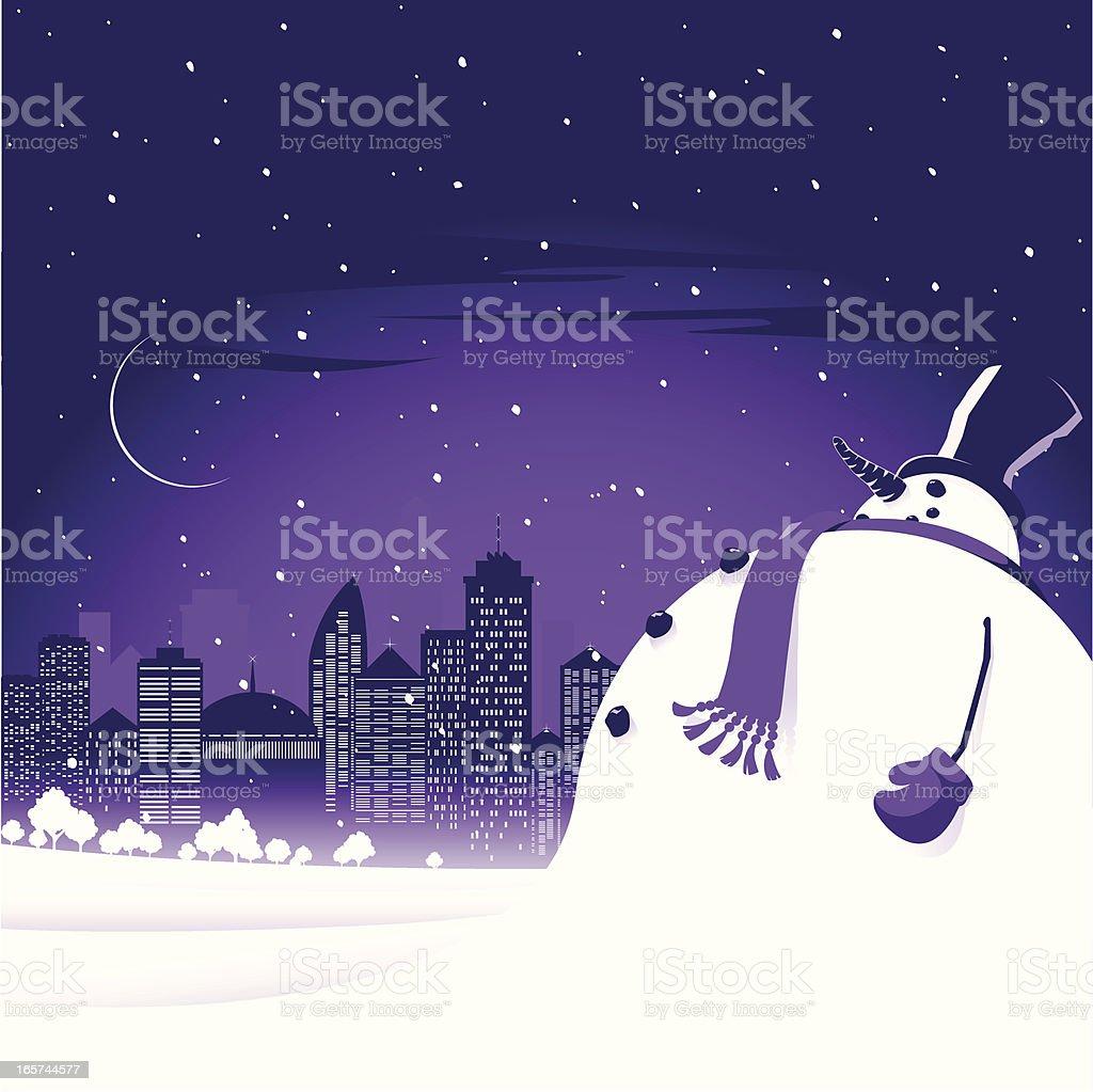 Snowman in the city vector art illustration