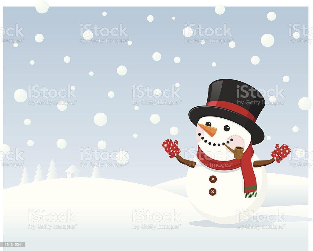 Snowman in Winter Field vector art illustration