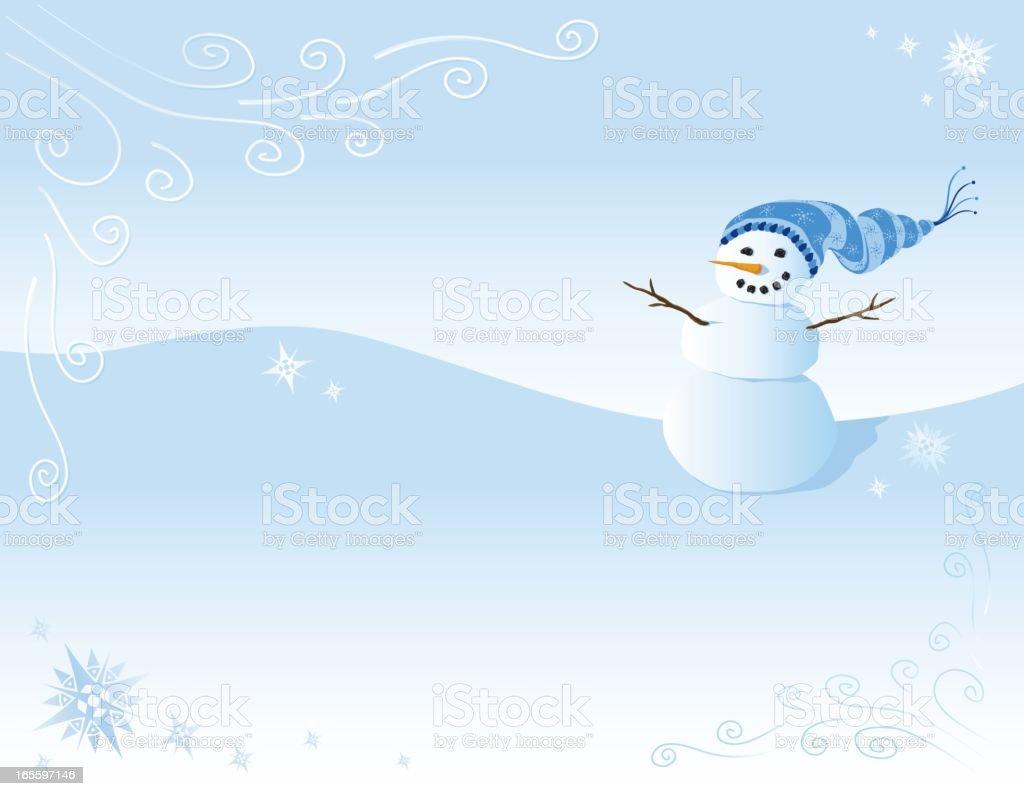 Snowman in winter scene royalty-free stock vector art