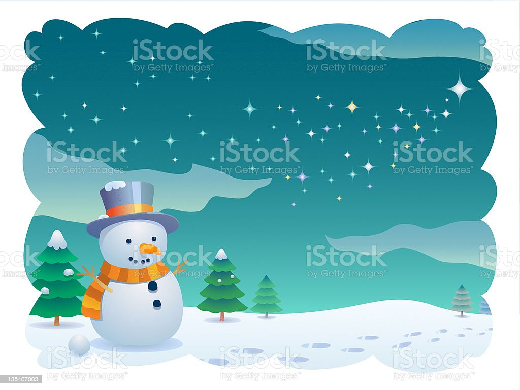 Snowman In Winter royalty-free stock vector art