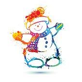 Snowman of splash paint