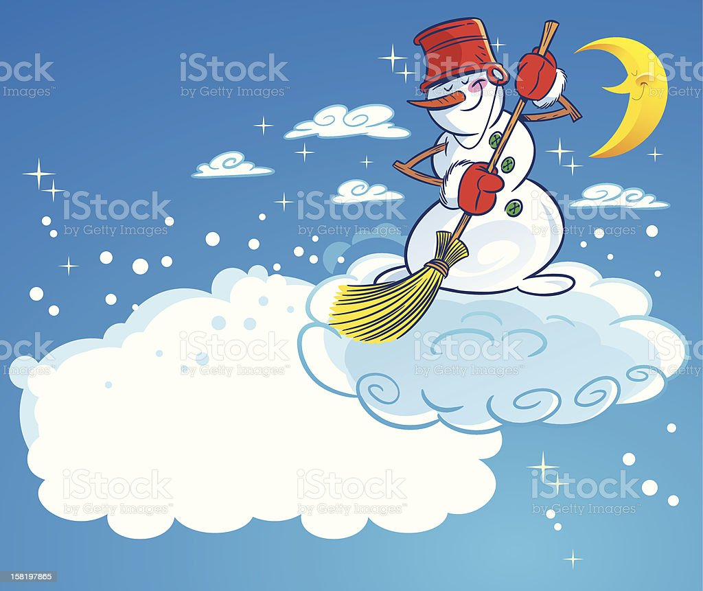 Snowman on a cloud royalty-free stock vector art