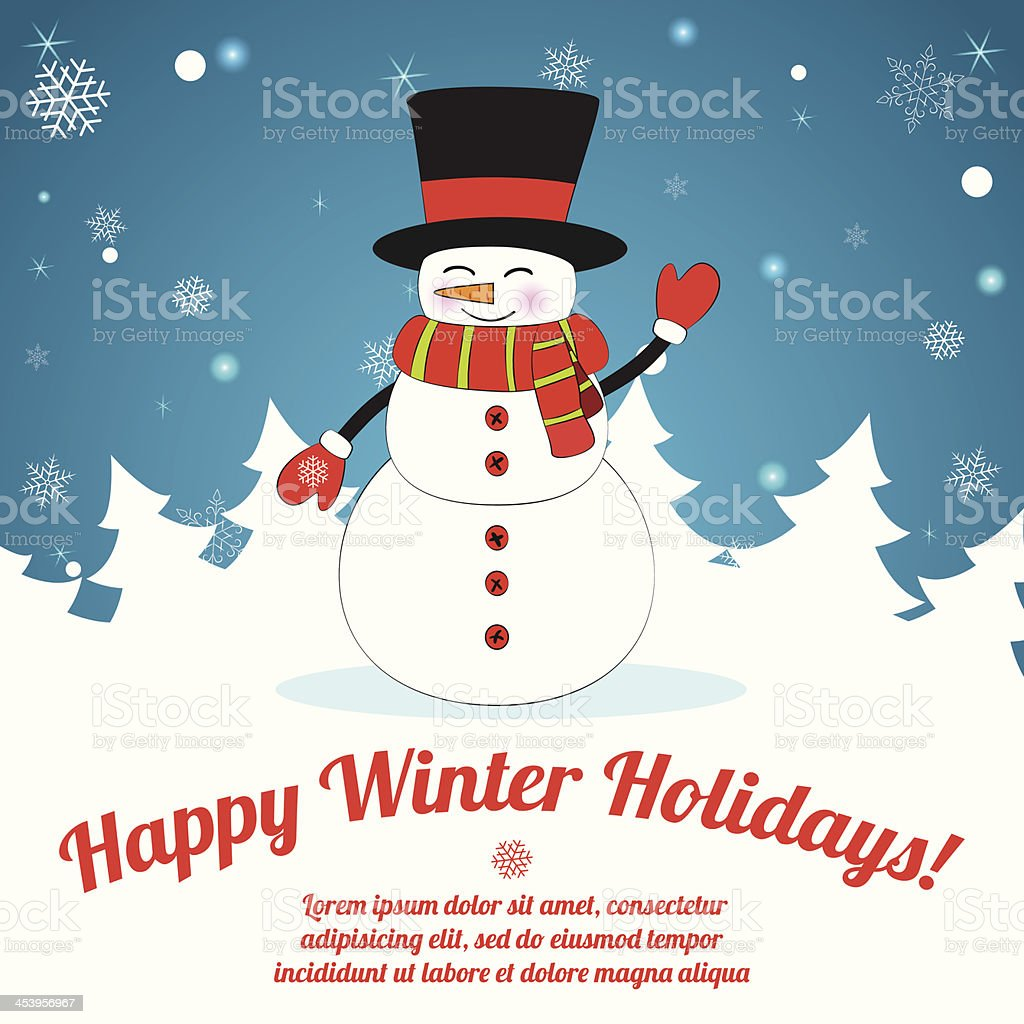 Snowman on Christmas Background. royalty-free stock vector art
