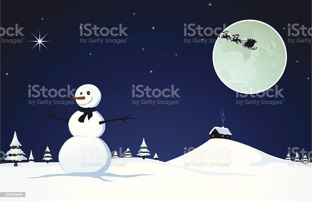 Snowman on christmas eve royalty-free stock vector art