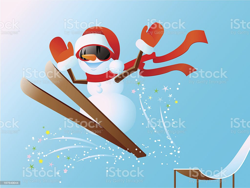 Snowman on skis royalty-free stock vector art