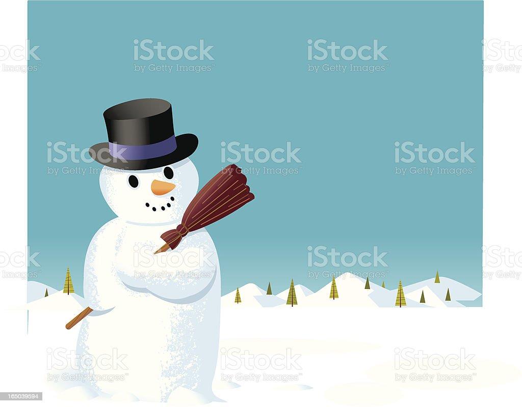 Snowman + Pine Trees vector art illustration