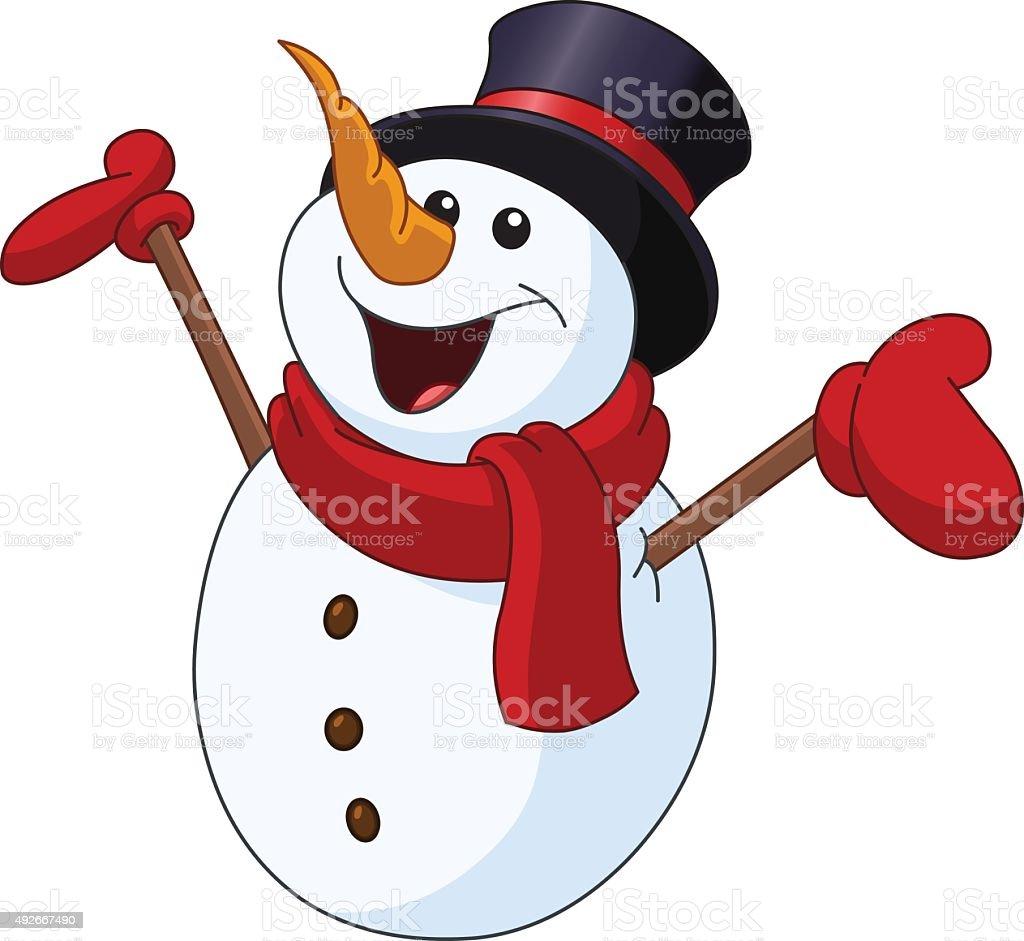 Snowman raising arms vector art illustration