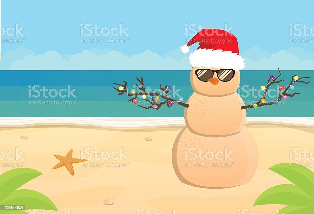 Snowman Santa Claus on a sandy tropical beach vector art illustration