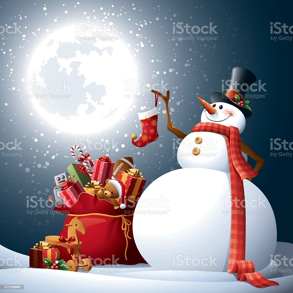 Snowman - Santa's Sack royalty-free stock vector art